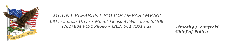 Mount Pleasant Police Department 8811 Campus Drive 262 884 0454